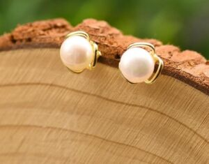 Natural Freshwater White Pearl Earrings in Minimalist Design